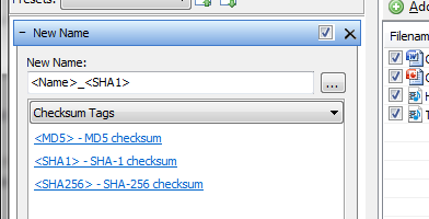 New checksum tags