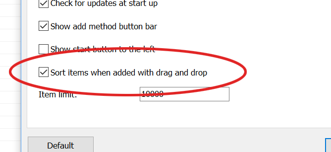 Sort items when added