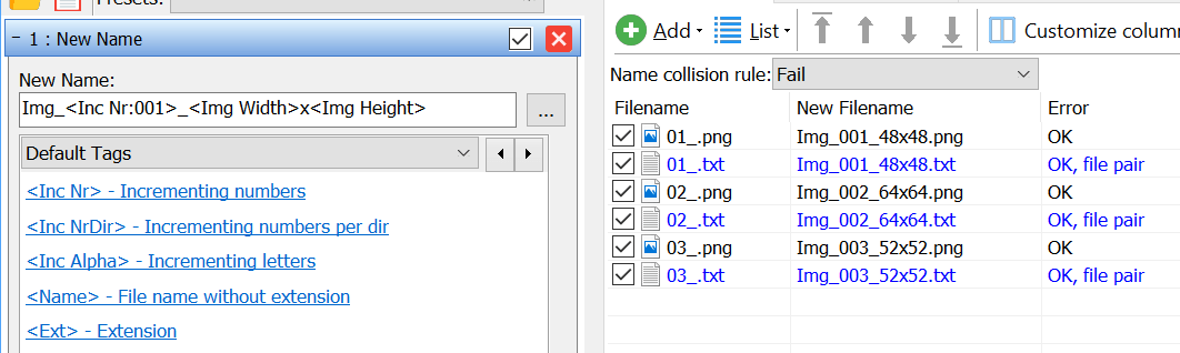 File pair rename: List